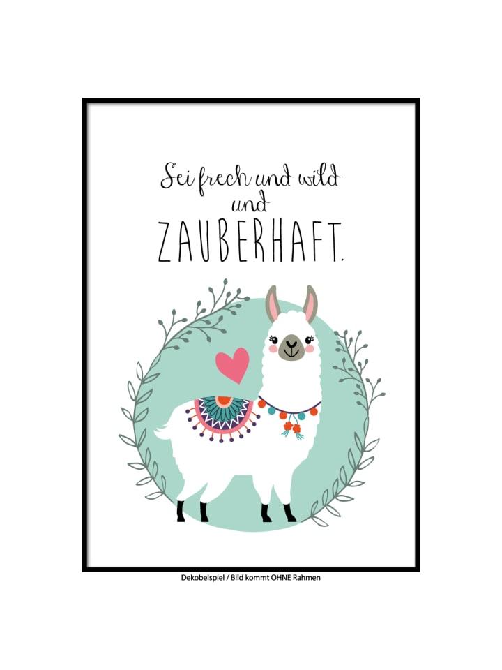 "SMART ART Kunstdrucke Kunstdruck / Poster ""Sei wild, Lama"" / A4 oder A3"