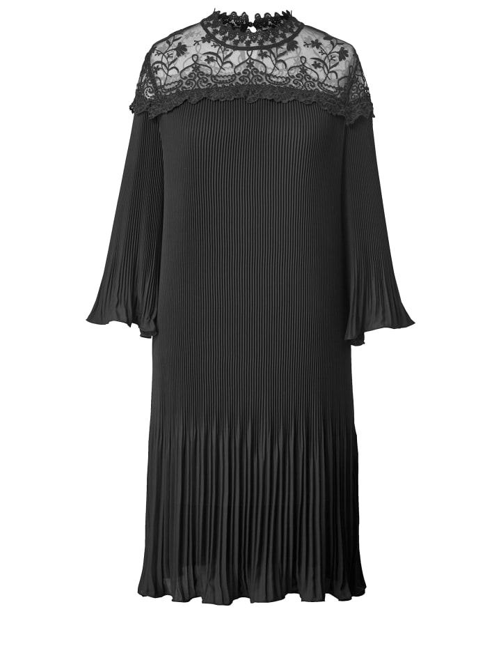 Sara Lindholm By Happysize Kleid Mit Plissee Und Spitze In Schwarz Gunstig Kaufen Limango