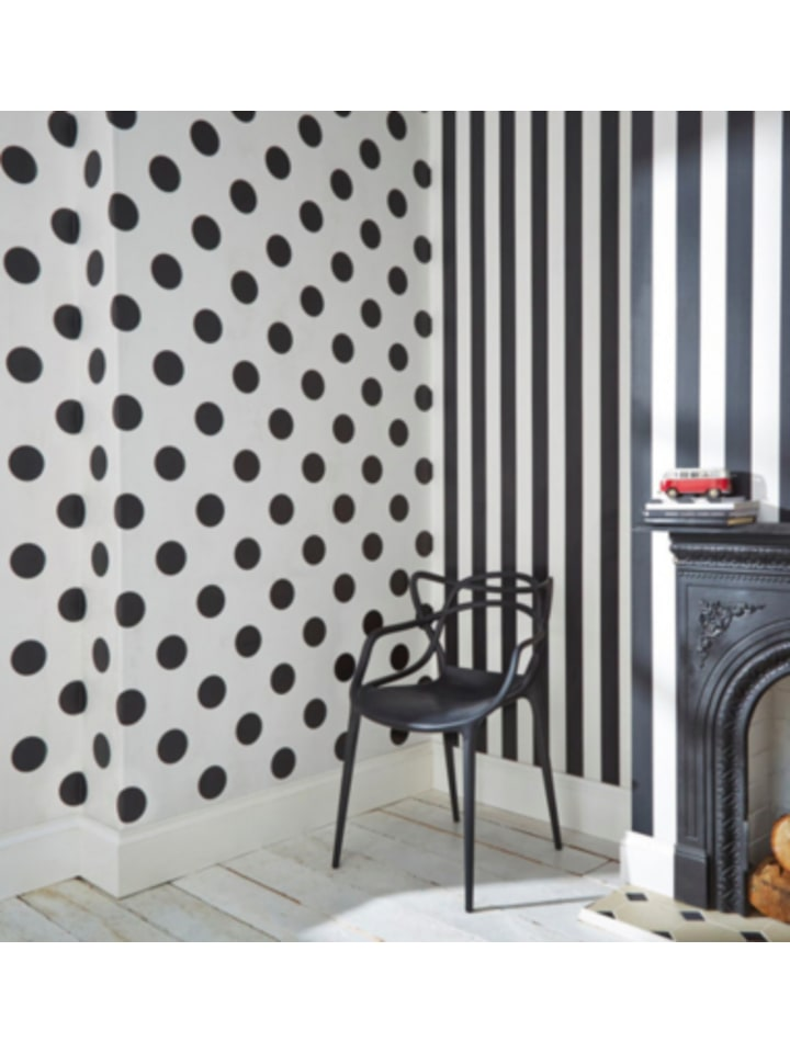 Decofun Tapete Punkte schwarz/weiß, 10 m x 53 cm