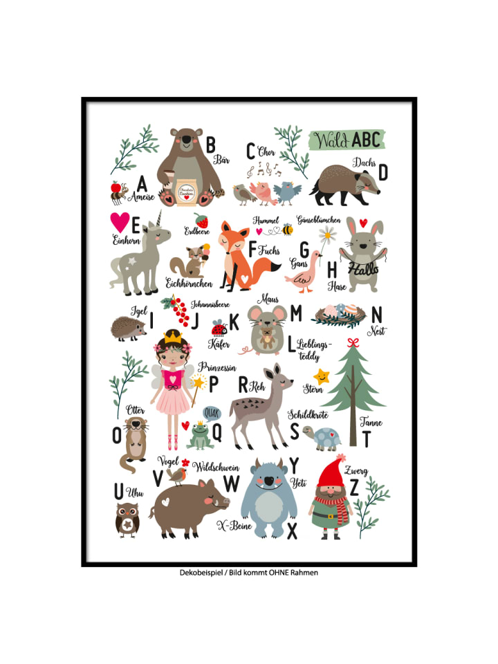 """SMART ART Kunstdrucke Kunstdruck / Poster """"Wald Alphabet"""" / A4 oder A3"""