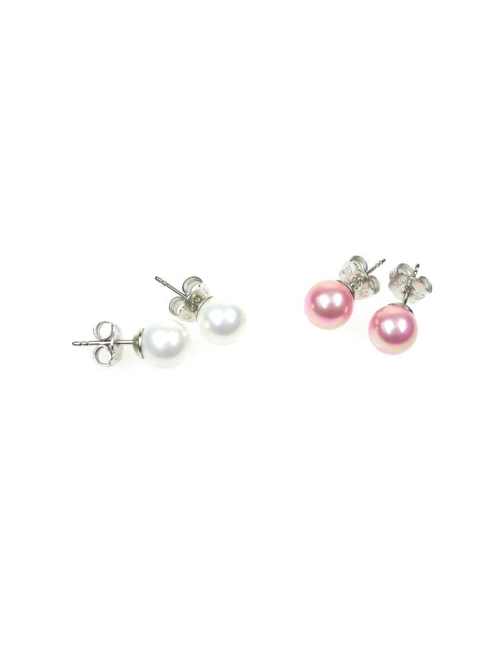Perlas Orquidea  Perlenohrringe Earrings in weiß rosa