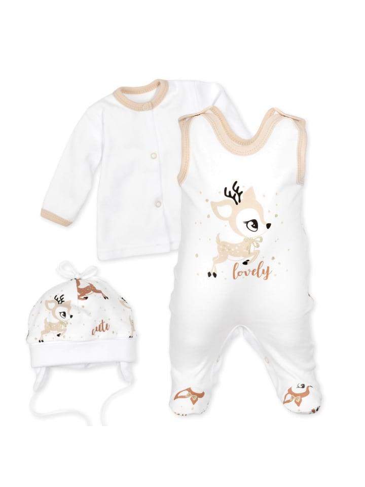 Baby Sweets 3tlg Set Strampler + Shirt + Mütze Lovely Deer in bunt