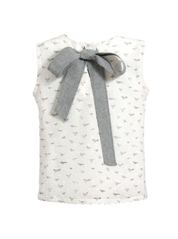 4nenes Ärmellose Bluse mit Vogelmuster in Grau/Weiß