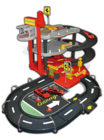 "Bburago Spielzeugset Ferrari R&P 1:43 ""ParkingGarage"", inkl. 2 Fahrzeugen, Tragebox"