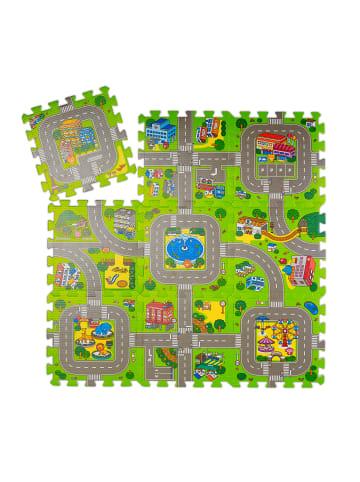 Relaxdays 9tlg. Puzzlematte Straße in Mehrfarbig - (B)90 x (T)90 cm