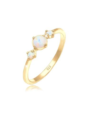 Elli Ring 925 Sterling Silber Opal, Verlobungsring, Vintage in Gold