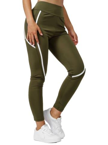 Holala Stretch Leggings mit Tasche Fitness Hose Streifen in Grün
