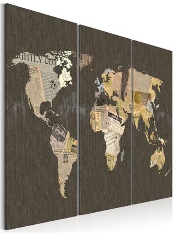 Artgeist Wandbild Nachrichten aus der Welt - Triptychon in Beige,Creme,Grau