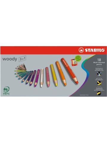STABILO Buntstift woody 3 in 1, 18 Farben, inkl. Spitzer