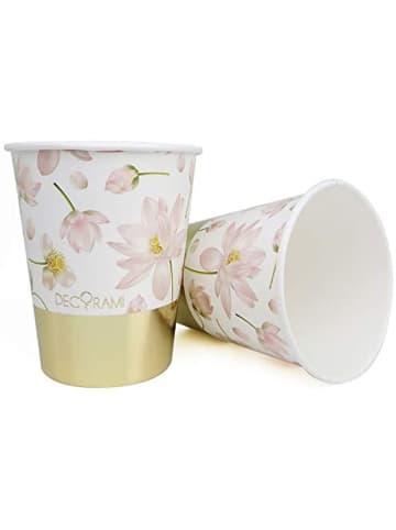 """DECORAMI Pappbecher """"Beautiful Blüten"""" in Weiß-Rosa"""