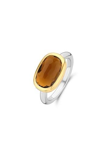 "Ti Sento Milano Ring ""Crystal braun bicolor"" in silber und braun"