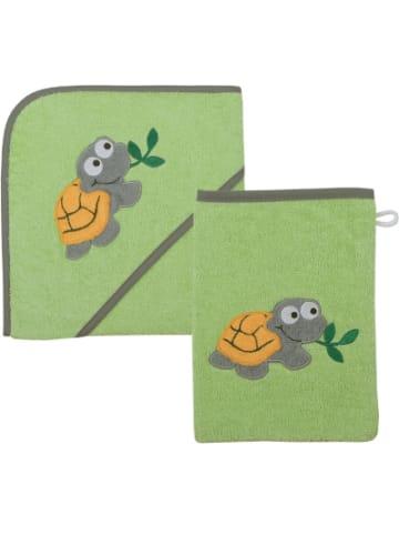 Boofle Kapuzen-Badetuch & Waschhandschuh Schildkröte, grün, 80x80 cm