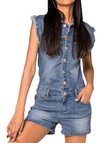 Nina Carter Jeans Shorts Jumpsuit Overall PlaysuitBluse mit Fransen in Blau
