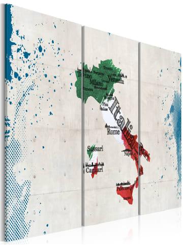 Artgeist Wandbild Landkarte von Italien - Triptychon in Grün,Weiß,Blau,Rot