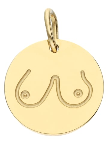 Six Anhänger Boobies-Design aus vergoldetem Stainless Steel in goldfarben