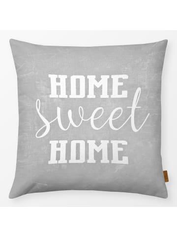 """Textilwerk.com Kissen """"Home Sweet Home"""" Grau / Weiss"""