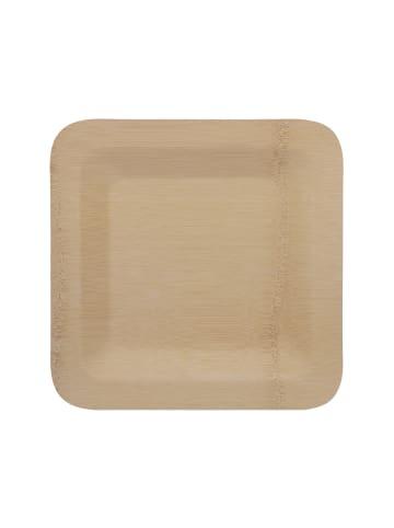 "Relaxdays 100 x Bambusteller ""eckig"" in Natur - 25,5 x 25,5 cm"