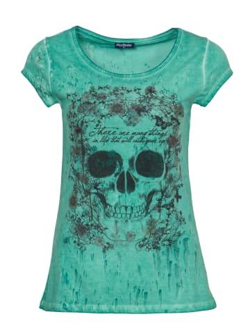 BLUE MONKEY Rundhalsshirt mit Pailletten Motiv in green