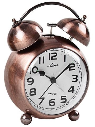 Atlanta Retro Wecker mit Glockensignal Metallgehäuse kupferfarben Weiß / Braun