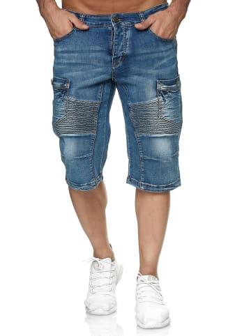 Leo Gutti Jeans Shorts Kurze Sommer Jeans Hose 5-Pocket in Blau