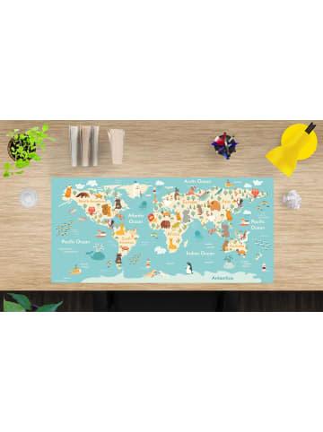 """Tischsetmacher.de Schreibtischunterlage """"Weltkarte Zeichnung hell"""" (L)84 x (B)40"""