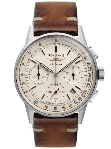 Iron Annie Herrenuhr Chronograph G38 Dessau Creme / Braun / Silber