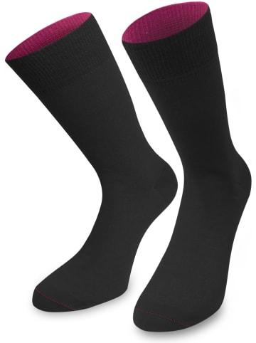 Normani 1 Paar Socken Bi-Color in Schwarz/Beere