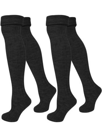 Normani 2 Paar Overknees gerippt mit Umschlag in Schwarz