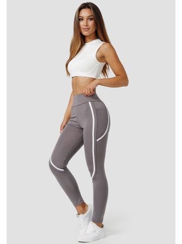 Holala Stretch Leggings mit Tasche Fitness Hose Streifen in Grau