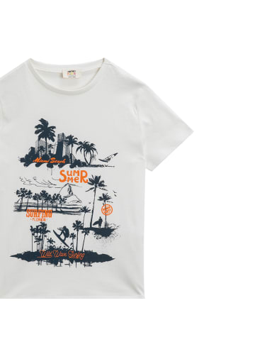 Mamino Kindermode Jungen T-Shirt -Florida in weiss