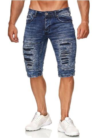 Leeyo Denim Bermuda Jeans Shorts in Dunkelblau