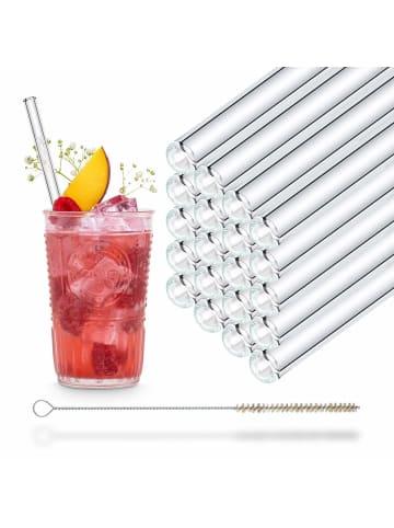 HÅLM 20er Party-Set Trinkhalme: Glas-Strohhalme in Transparent - 20 cm