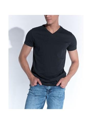 Heredot Denim V-Ausschnitt-Shirt in schwarz