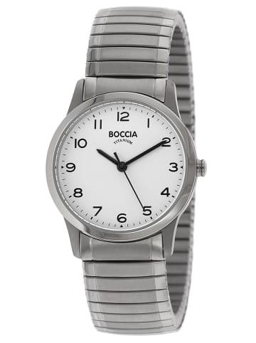 Boccia Titan-Damenuhr mit Zugband Weiß / Silber