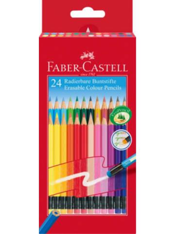 Faber-Castell Sechskant-Buntstifte radierbar, 24 Farben