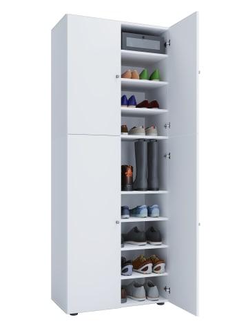 VCM  Holz Schuhschrank Lona 9-fach mit Drehtüren in Weiß