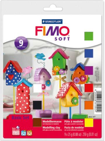 FIMO soft Basic-Set, 9 x 25 g inkl. Glanzlack & Zubehör