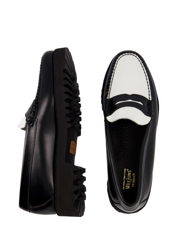 G.H. Bass & Co. Loafer Weejuns Easy 90s Penny in Black and White Leather