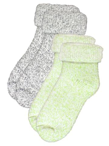 Rogo Socken in Grün/Grau