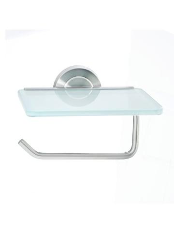 AMARE Papierrollenhalter mit Glasablage aus Edelstahl in Silber