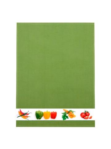 """Framsohn 4er Set: Geschirrtuch Waffelpique """"Gemüse"""" in Moos - (L) 70 x (B) 50 cm"""