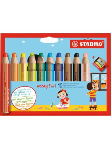 STABILO Buntstifte woody 3 in 1, 10 Farben, inkl. Spitzer