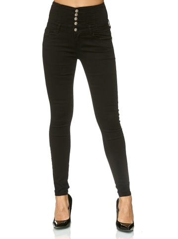 MiSS RJ Skinny Jeans Hose High Waist Demin Stretch Shaping Design in Schwarz
