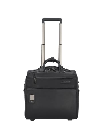 Piquadro Akron 2-Rollen Businesstrolley Leder 36 cm Laptopfach in black