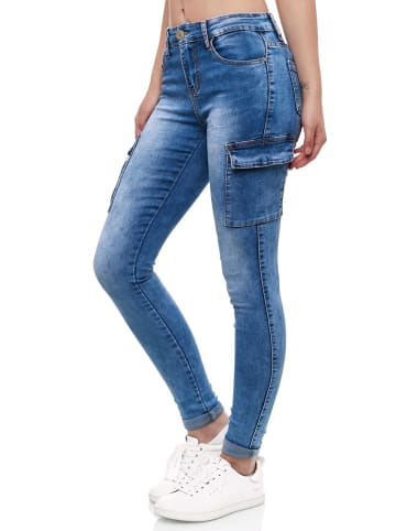 MiSS RJ Denim Cargo Jeans Hose Stretch Treggings Röhrenjeans in Blau