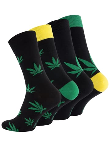 "Vincent Creation® Cannabis Socken 4 Paar,  Weed Socks ""365 High"" in Bunt"