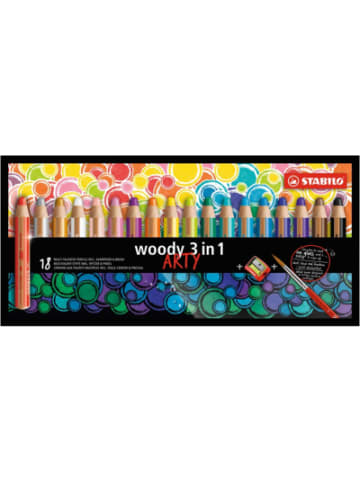 STABILO Buntstift woody 3 in 1 ARTY, 18 Farben, inkl. Spitzer & Pinsel