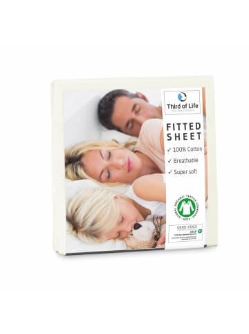 """Third of Life Spannbettlaken """"ALBA"""" aus 100% Oekotex-Baumwolle in Elfenbein-Weiß"""