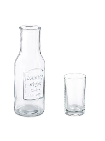 Relaxdays Wasserkaraffe mit 4-tlg. Gläser Set in Transparent