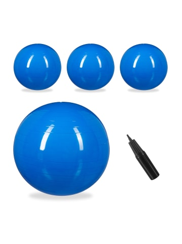 Relaxdays 4x Gymnastikball in Blau - Ø 75 cm